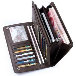 Men's Bifold Leather Zip Coin Long Wallet Multi Card Holder
