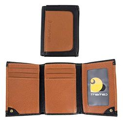 Carhartt Men's Black and Tan RFID Blocking Trifold, Black/Ta
