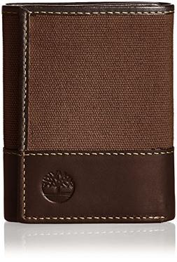 Timberland Men's Canvas & Leather Trifold Wallet, Dark Earth