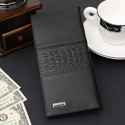Men's Classic Long Genuine Leather Large Wallet ID Card Purs