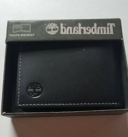 Timberland Men's Cloudy Genuine Leather Passcase Wallet Blac