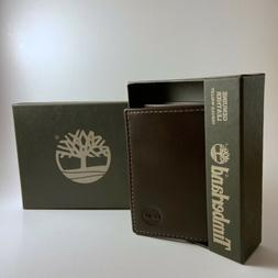 Timberland Men's Cloudy Trifold Leather Wallet - Brown - NIB