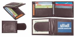 Men's Cow Leather Magnetic Money Clip Compact Bifold Front P