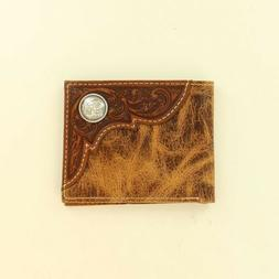 Ariat Men's Distressed Brown Tooled Overlay Bi-Fold Wallet A