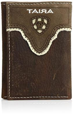 Ariat Men's Distressed Shield Inlay Trifold Western Wallet,