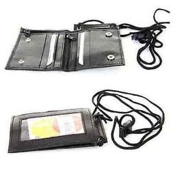 Men's Genuine Leather ID Necklace Wallet Badge ID Holder Nec