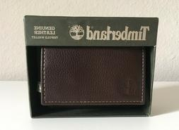 Men's Timberland Genuine Leather Trifold Wallet Brown NEW w/