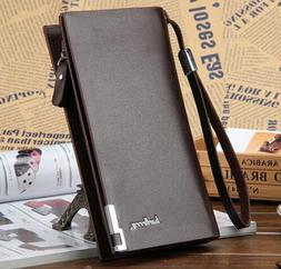 Men's Leather Bifold ID Card Holder Long Wallet Purse Checkb