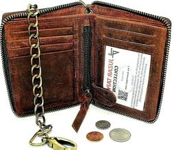 Men's Leather Black Tri-fold Wallet with Chain Trucker,Biker