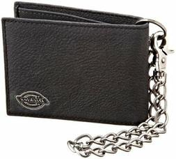 Dickies Men's Leather Slimfold Wallet With Chain Black One S