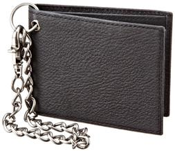 Dickies Men's Leather Slimfold Wallet With Chain,Black,One S