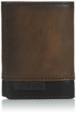 Dickies Men's Leather Two-Tone Trifold Wallet Brown
