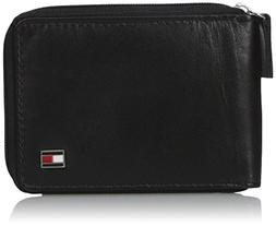 Tommy Hilfiger Men's Oxford Ziparound Wallet,Black,