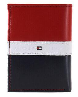 Tommy Hilfiger Men's Premium Leather Trifold Wallet Rfid Red