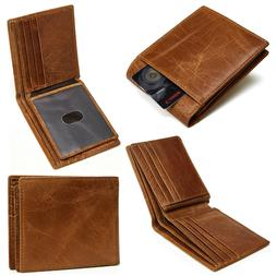 Men's RFID Blocking Full Grain Leather ID Window Multi-Curre