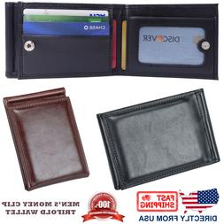 Men's Money Clip and ID Window Slim Trifold Leather Wallet