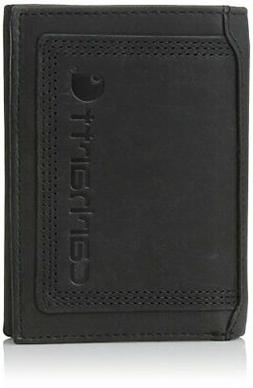 Carhartt Men's Top Grain Leather Trifold Wallet, Contrasting