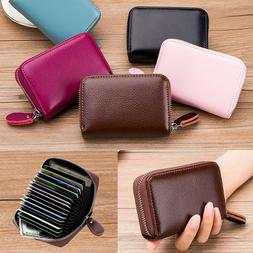 Men Women Wallet Leather Credit Card Holder RFID Blocking Zi