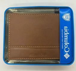 Columbia Mens Bifold Leather RFID Security Wallet Brown