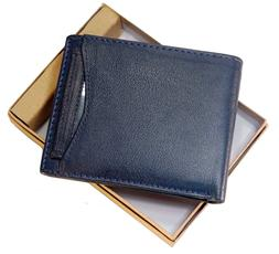 Mens Bifold Wallet Removable ID Card Case Genuine Leather in