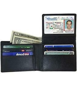 AurDo Mens Genuine Leather Bifold Wallet with 2 ID Window an