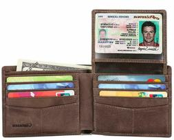 Mens Genuine Leather Bifold Wallet with 2 ID Window and RFID