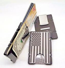 Mens Large American Flag Aluminum Wallet, RFID protection, B