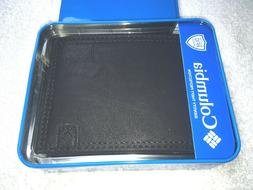COLUMBIA MENS LEATHER BI-FOLD WALLET BLACK NWT