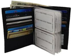 Mens Hipster Leather Bifold Credit Card Inserts ID Window Eu