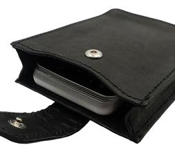MENS Leather Magnetic Money Clip With Expandable Card Pouch