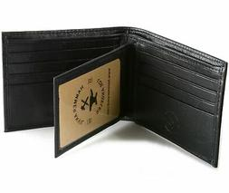 Mens Leather Wallet RFID Blocking Compact Multi Card Flip ID