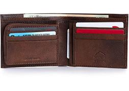 Alpine Swiss Mens Leather Wallet Zipper Coin Pocket 2 Billfo