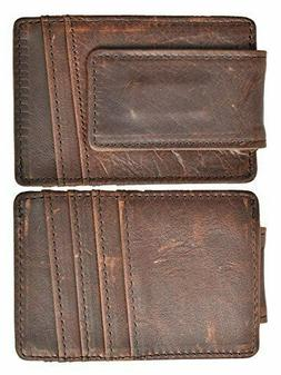 Mens RFID Block Wallet Genuine Leather With Money Clip Ultra