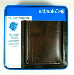 COLUMBIA Mens RFID Blocking Security Trifold Leather Wallet
