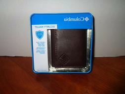 COLUMBIA Mens RFID Shield Security Trifold Leather Wallet Br