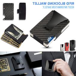 Mens Slim Carbon Fiber Credit Card Holder RFID Blocking Meta