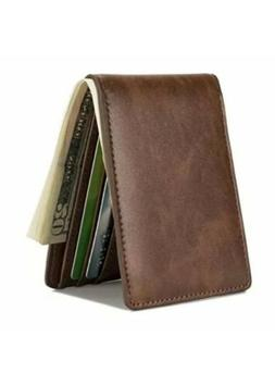 HISSIMO Mens Slim Front Pocket Wallet ID Window Card Case wi