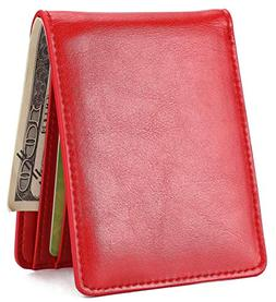 Mens Slim Front Pocket Wallet ID Window Card Case with RFID