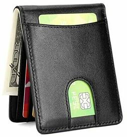 HISSIMO Mens Slim Front Pocket Wallet ID Window Card A-07 Ge