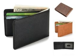 Mens Slim Front Pocket Wallet RFID Blocking Stylish Compact