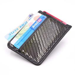 Kinzd Mens Slim Grain Leather Credit Card Holder RFID Carbon
