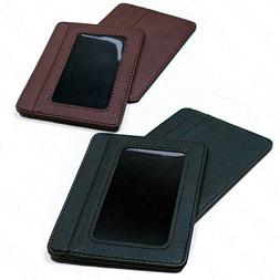 Mens Slim Leather Wallet Card Holder Window Credit Cash ID P