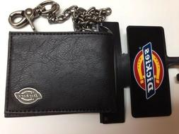 Dickies Mens Slimfold Wallet with Antique Nickel Chain Black