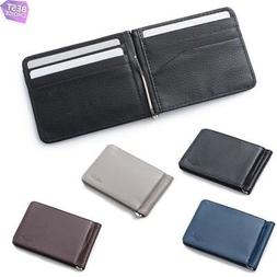 Mens Thin Leather Bifold Credit Card ID Wallet with Removabl