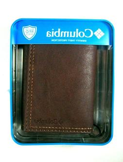 Columbia Mens Trifold Security RFID Blocking Wallet Brown 31
