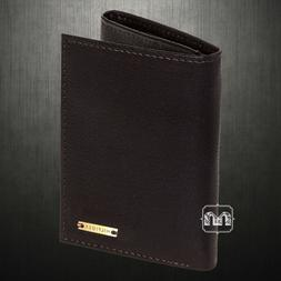 mens trifold wallet brown leather pass case