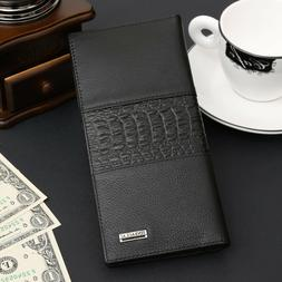 Mens Genuine Leather Long Bifold Wallet ID Card Purse Checkb