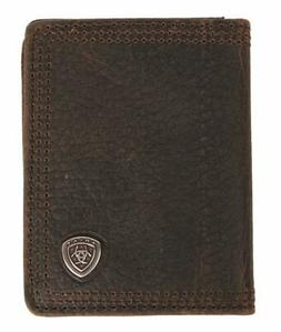 Ariat Mens Western Wallet Bi-Fold Flip Case/Dark Brown Rowdy