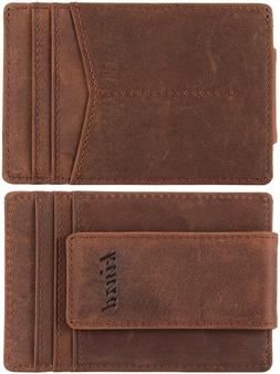 Kinzd Money Clip Front Pocket Wallet Leather Rfid Blocking S