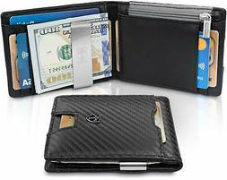 """Money Clip Wallet with Coin compartment""""LONDON"""" RFID Block M"""